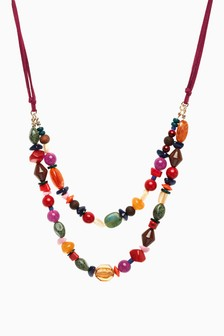Two Row Beaded Short Necklace