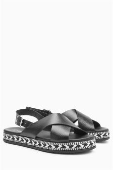 Leather Flatform Sandals