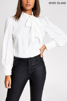 River Island Ivory Pussybow Blouse