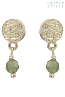 Oliver Bonas Alexa Disc & Green Stone Gold Plated Earrings