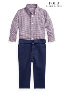 Ralph Lauren Red Check Shirt And Jeans Set
