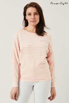 Phase Eight Pink Brody Textured Knit Top