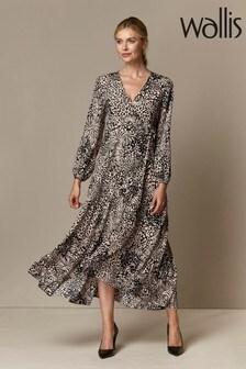 Wallis Blue Neutral Animal Print Wrap Midi Dress