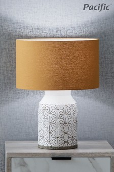 Assisi Etch Detail Stoneware Table Lamp by Pacific Lifestyle