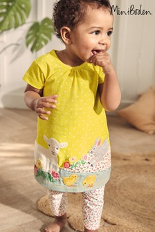 Boden Yellow Appliqué Dress And Leggings Set
