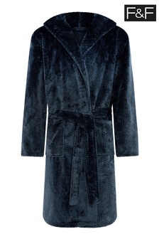 F&F Sealskin Hooded Robe Navy