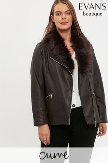 Evans Curve Brown Faux Fur Trim Biker Jacket