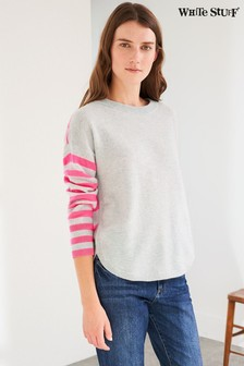 White Stuff Grey/Pink Carrie Cashmere Jumper