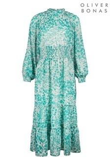 Oliver Bonas Green Bamboo Floral Green Midi Dress