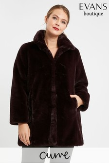 Evans Curve Purple Faux Fur Jacket