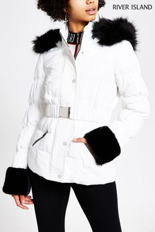 River Island White Fur Cuff Belted Anoushka Jacket