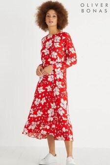 Czerwona sukienka midi w kwiaty Oliver Bonas