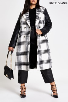 River Island White Check City Coat