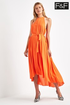 F&F Orange Pleated Maxi Dress
