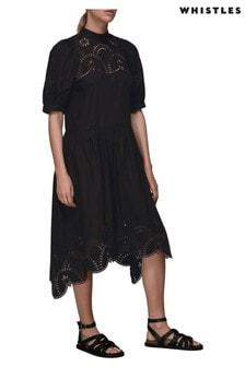 Whistles Black Broderie Asymmetrical Dress