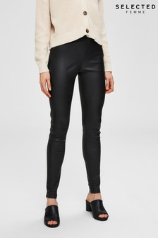 Selected Femme Black Leather Leggings