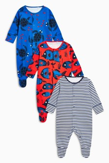 Print And Stripe Sleepsuits Three Pack (0mths-2yrs)