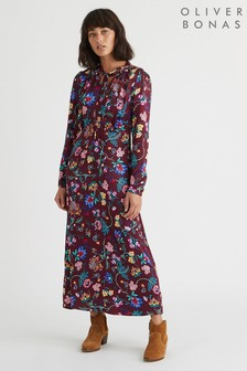 Oliver Bonas Red Floral Pussybow Midi Dress