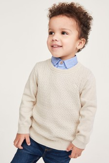 Textured Mock Shirt Jumper (3mths-7yrs)