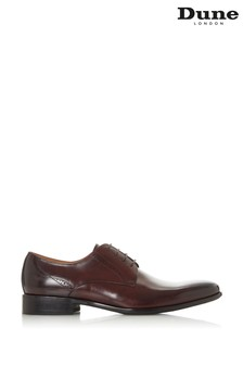 Dune London Strive Burgundy Leather Punch Detail Derby Shoes