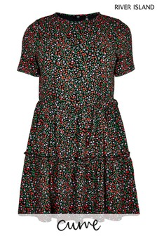 River Island Plus Black Print T-Shirt Smock Dress