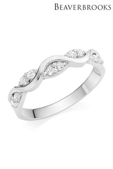 Beaverbrooks 9ct White Gold Cubic Zirconia Twist Ring
