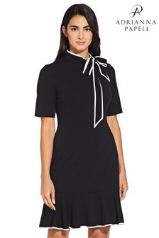 Adrianna Papell Black Knit Crepe Tie Neck Dress