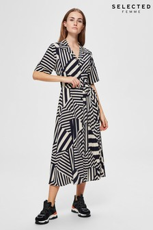 Selected Femme Navy Abstract Stripe Oriana Dress