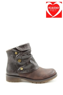 Heavenly Feet Brown Ladies Casual Ankle Boots