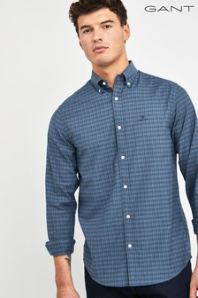 GANT Blue Herringbone Tattersall Regular Shirt