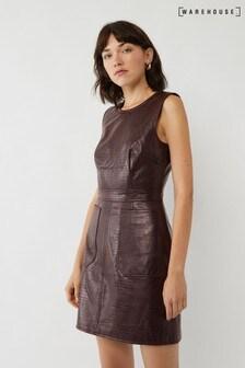 Warehouse Purple Croc PU Dress