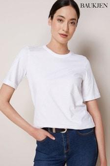 Baukjen T-Shirt mit gerollten Ärmeln, Weiß