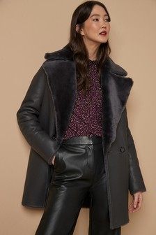 Leather Shearling Reversible Coat