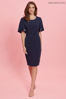 Gina Bacconi Blue Arla Dress With Sequined Sleeve Hem