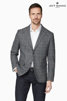 Jeff Banks Grey Prince Of Wales Check Tailored Fit Blazer