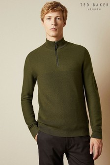 Ted Baker Green Newport Half Zip Funnel Neck Jumper