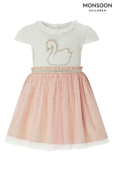 Monsoon Children Pink New Born Baby Sally Swan Dress