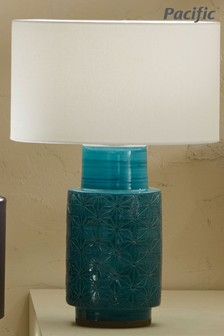 Sidra Aquamarine Stoneware Etch Detail Table Lamp by Pacific Lighting