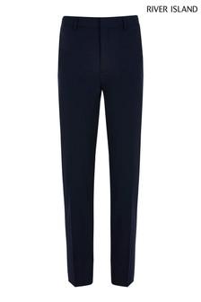 River Island Navy Smart Sloane Skinny Trousers