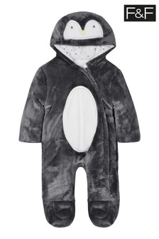 F&F Grey Penguin Faux Fur All-In-One