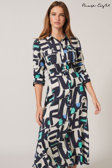 Phase Eight Blue Lakely Printed Shirt Dress