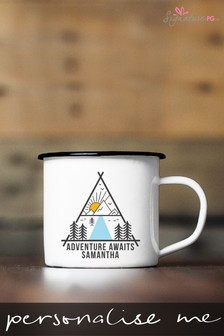 Personalised Adventure Awaits Enamel Mug by Signature PG