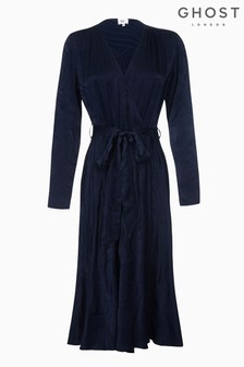 Ghost London Blue Rain Embroidered Satin Wrap Dress