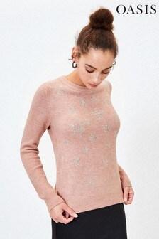 Oasis Pink Star Embellished Jumper