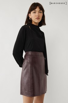 Warehouse Purple Croc Seamed Skirt