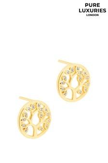Pure Luxuries London Ana Gold Tree Earrings