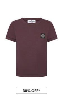Stone Island Junior Boys Burgundy Cotton T-Shirt