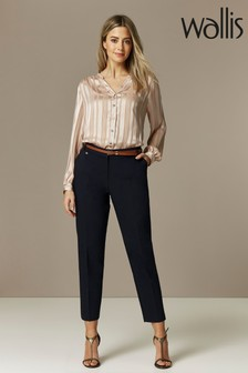 Wallis Blue Petite Double Faced Belted Cigarette Trousers