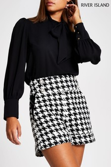 River Island Black Pussybow Blouse