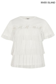 River Island White Flower Mesh T-Shirt